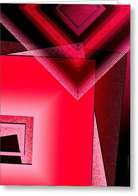 Crossed Greeting Cards - Red Shapes Greeting Card by Mario  Perez