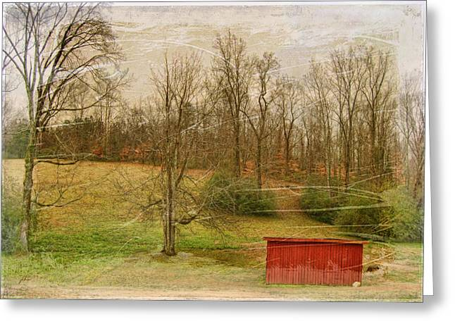 Paulette Wright Digital Art Greeting Cards - Red Shed Greeting Card by Paulette B Wright
