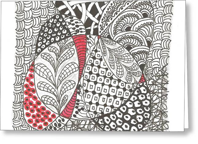 Meditate Drawings Greeting Cards - Red Greeting Card by Sheila Byers