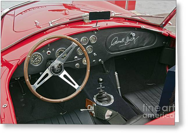 Carroll Shelby Greeting Cards - Red Shelby Motors Roadster signed by Carroll Shelby Greeting Card by David  Zanzinger