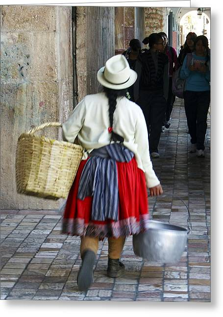 Cuenca Greeting Cards - Red Skirted Woman of Cuenca Greeting Card by Kurt Van Wagner
