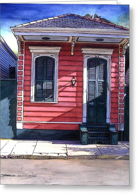 French Door Greeting Cards - Red Shotgun House 382 Greeting Card by John Boles