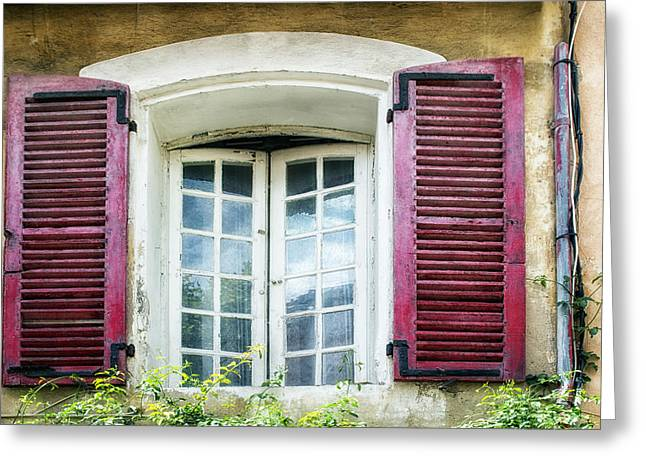 French Windows Greeting Cards - Red Shuttered Windows in France Greeting Card by Nomad Art And  Design