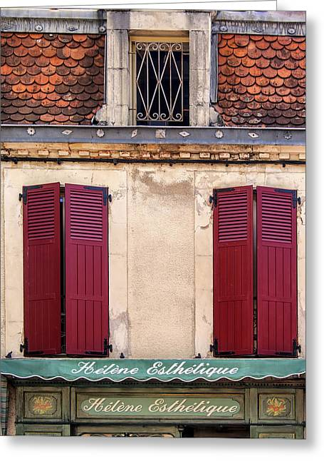 Historic Home Greeting Cards - Red Shutters Closed Greeting Card by Nomad Art And  Design