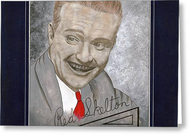 Red Skelton Portrait Greeting Card by Herb Strobino