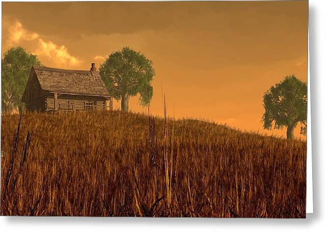 Western Themed Digital Art Greeting Cards - Red Skies at Night Greeting Card by Daniel Eskridge