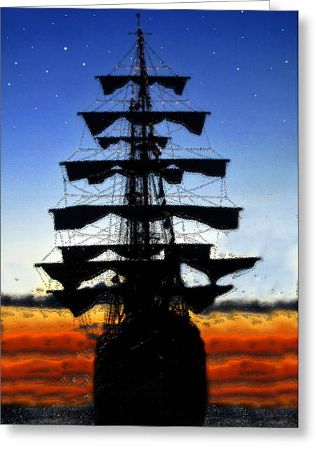 Sailing At Night Greeting Cards - Red skies at night Greeting Card by David Lee Thompson
