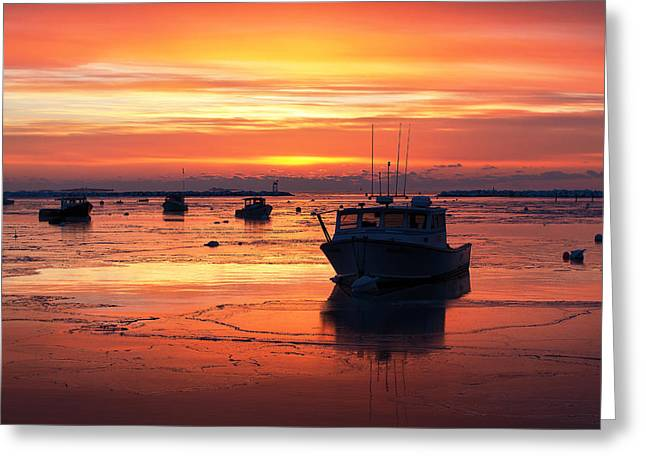 New England Village Greeting Cards - Red Skies in Rye Greeting Card by Eric Gendron