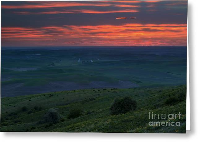 Red Skies Over The Palouse Greeting Card by Mike Dawson