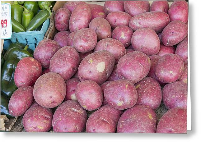 Locally Grown Greeting Cards - Red Skin Potatoes Stall Display Greeting Card by JPLDesigns