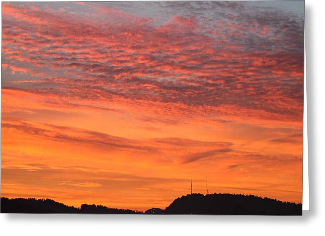 West Virginia Greeting Cards - Red Sky At Morning Greeting Card by Howard Tenke