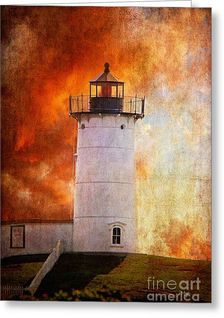 Nubble Lighthouse Greeting Cards - Red Sky At Morning - Nubble Lighthouse Greeting Card by Lois Bryan