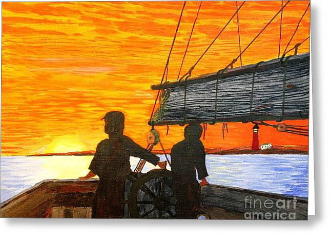Bill Hubbard Greeting Cards - Red Sky at Night a Sailors Delight Greeting Card by Bill Hubbard