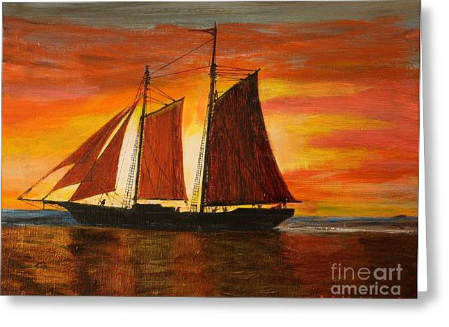 Tall Ship Greeting Cards - Red Sky At Night Greeting Card by Bill Hubbard