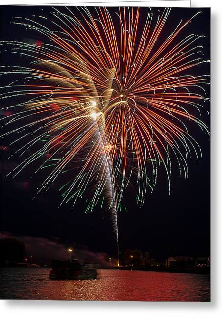 Rockets Red Glare Greeting Cards - Red Sky at Night Greeting Card by Bill Pevlor