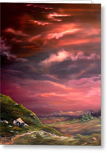 Red Sky At Night Greeting Card by Jean Walker