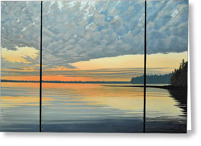 Canoe Paintings Greeting Cards - Red Sky At Night  Greeting Card by Kenneth M Kirsch