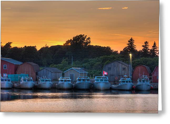 Lobster Shack Greeting Cards - Red Sky at Night Greeting Card by Matt Dobson