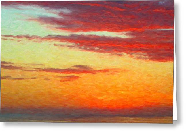 Beach At Night Digital Greeting Cards - Red Sky at Night - Orange Beach Sunset Greeting Card by Rebecca Korpita