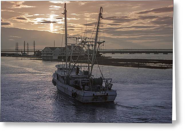 Fishing Boats Greeting Cards - Red Sky At Night Greeting Card by Photographic Arts And Design Studio