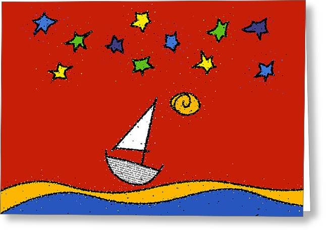 Sailing At Night Greeting Cards - Red Sky at Night Greeting Card by Sid Wellman