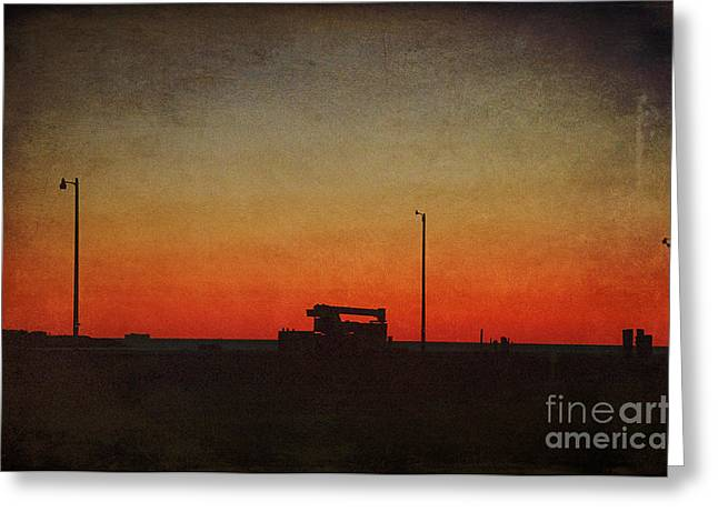 Sailing At Night Greeting Cards - Red Sky at Night Greeting Card by Terry Rowe