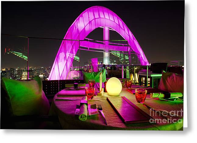 Candel Greeting Cards - Red Sky Bar Bangkok Rooftop bar Greeting Card by Fototrav Print