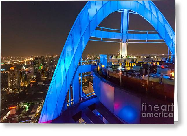 Candel Greeting Cards - Red Sky Bar in Bangkok Thaila Greeting Card by Fototrav Print