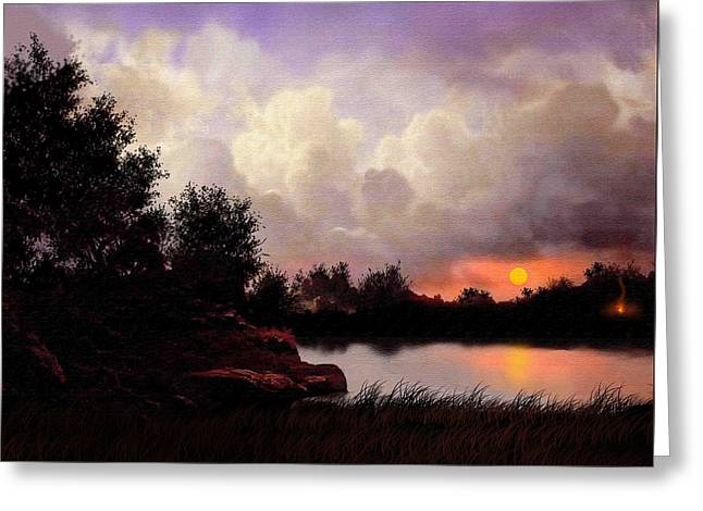 Red Sky Camp Greeting Card by Robert Foster