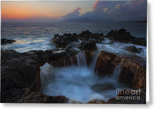 Storm Clouds Greeting Cards - Red Sky Cauldron Greeting Card by Mike  Dawson