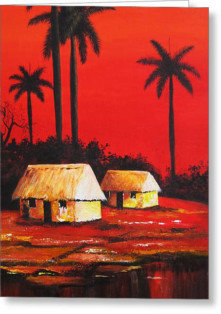 Dominica Alcantara Greeting Cards - Red Sky Greeting Card by Dominica Alcantara