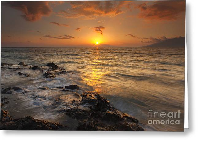 Sunset Seascape Greeting Cards - Red Sky in Paradise Greeting Card by Mike Dawson