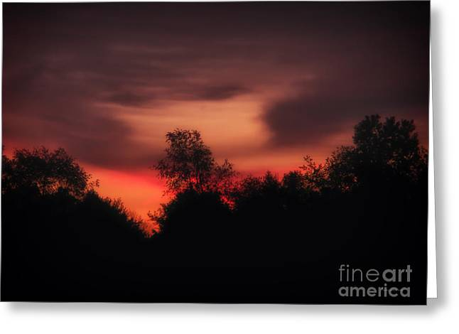 Sunset Posters Greeting Cards - Red Sky in the Morning Greeting Card by Thomas Woolworth