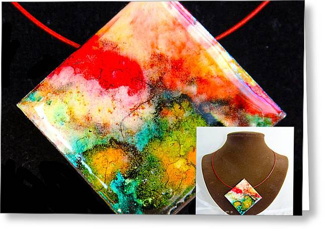 Mountains Jewelry Greeting Cards - Red Sky Necklace Greeting Card by Alene Sirott-Cope