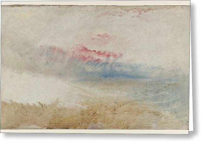 Jmw Greeting Cards - Red sky over a beach study 1845 Greeting Card by Joseph Mallord William Turner
