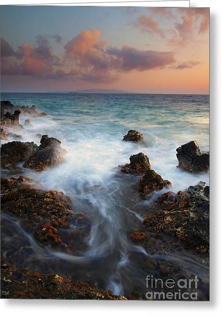 Maui Greeting Cards - Red Sky over Kahoolawe . .  Greeting Card by Mike  Dawson