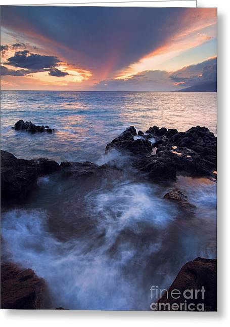 Cauldron Greeting Cards - Red Sky over Lanai Greeting Card by Mike  Dawson