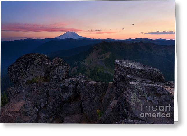 Roost Greeting Cards - Red Sky over Rainier Greeting Card by Mike  Dawson