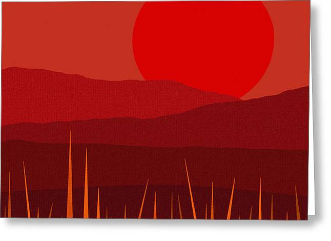 Minimalist Landscape Greeting Cards - Red Sky - Red Sunset Greeting Card by Val Arie