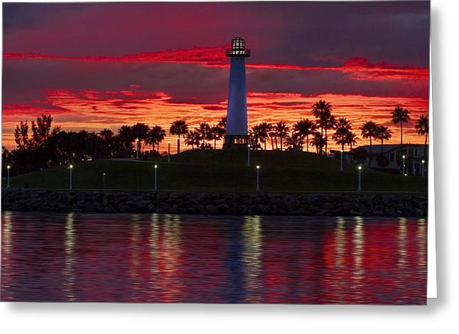California Beach Art Greeting Cards - Red Skys at Night Denise Dube Photography Greeting Card by Denise Dube