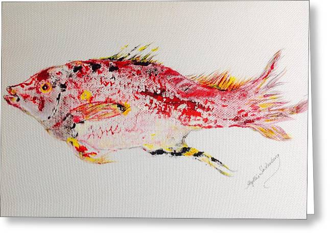 Fish Rubbing Greeting Cards - Red Snapper -large Greeting Card by Phyllis Soderberg