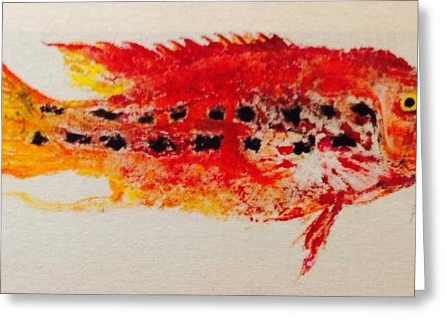 Fish Rubbing Greeting Cards - Red Snapper with Teeth Greeting Card by Phyllis Soderberg