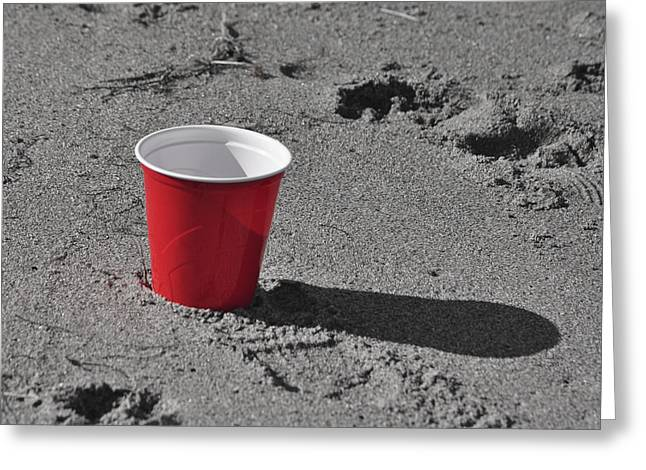 Toby Greeting Cards - Red Solo Cup Greeting Card by Trish Tritz