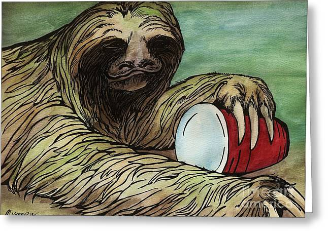 Sloth Mixed Media Greeting Cards - Red solo sloth Greeting Card by Meagan  Visser