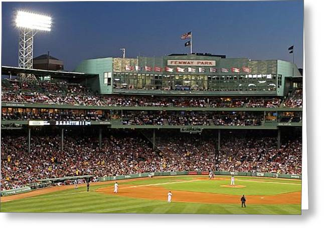 Press Box Greeting Cards - Red Sox and Fenway Park  Greeting Card by Juergen Roth