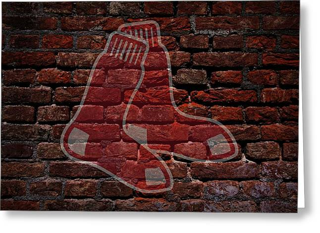 Boston Red Sox Prints Greeting Cards - Red Sox Baseball Graffiti on Brick  Greeting Card by Movie Poster Prints