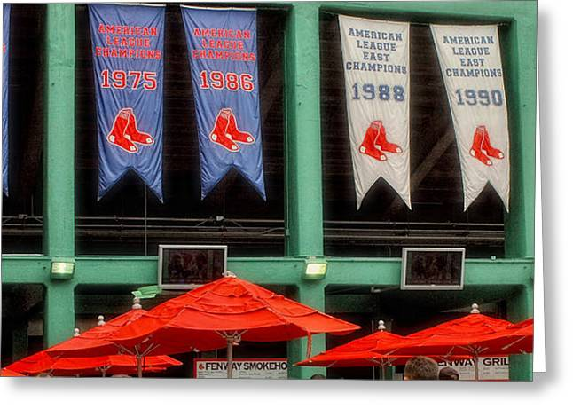 Boston Sports Parks Greeting Cards - Red Sox Champion Banners Greeting Card by Joann Vitali