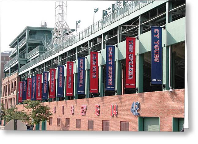 Red Sox Heroes Greeting Card by Sue  Thomson
