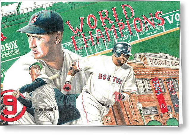 Red Sox Drawings Greeting Cards - Red Sox World Champions Greeting Card by David Vieyra