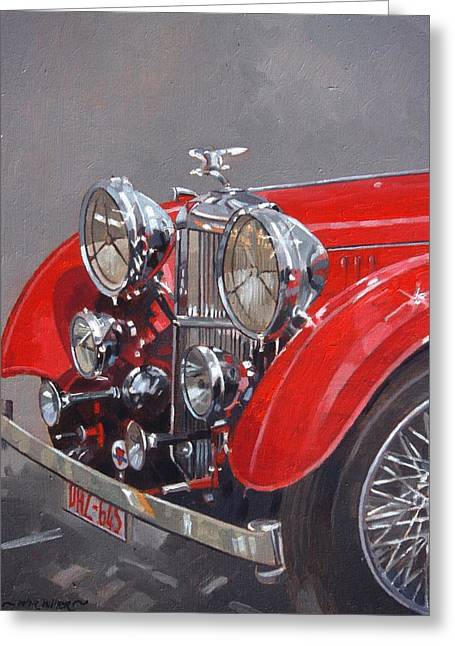 Headlight Greeting Cards - Red Sp.25 Alvis Oil On Canvas Greeting Card by Peter Miller